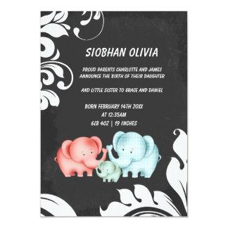 "Family Of Elephants Mom Dad And Baby 5"" X 7"" Invitation Card"