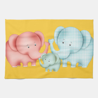 Family Of Elephants Mom Dad And Baby Kitchen Towels