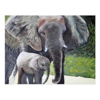 Family of Elephants Postcard