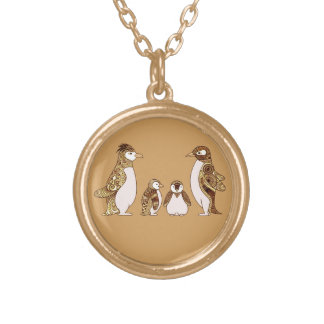 Family of Penguins Gold Plated Necklace