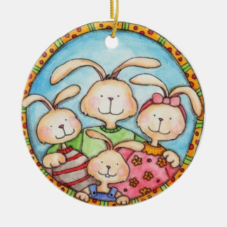 family of rabbits ornament