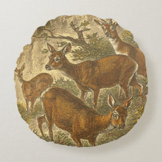Family of Roe - Deers in a Forest Round Pillow