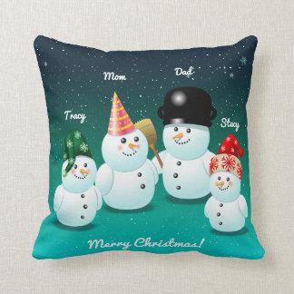 Family Of Snowmen With Customized Names Throw Pillow