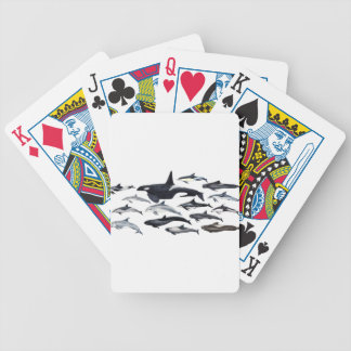 Family of the dolphins: orcas, dolphins, marsopas bicycle playing cards