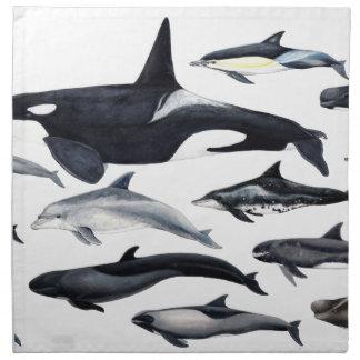 Family of the dolphins: orcas, dolphins, marsopas napkin