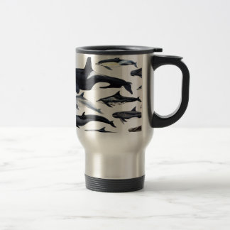 Family of the dolphins: orcas, dolphins, marsopas travel mug