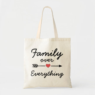 Family over everything saying tote bag