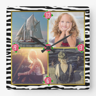 Family Photo Add 4 Custom Pictures | Zebra Roses Square Wall Clock