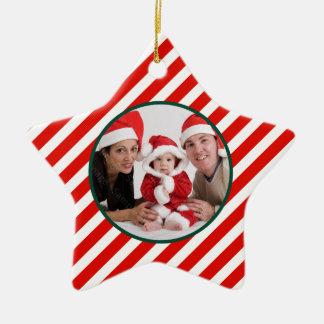 Family Photo Candy Cane Star Ceramic Star Ornament