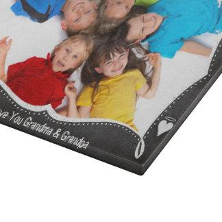 Family Photo Chalkboard We Love YOU Cutting Board
