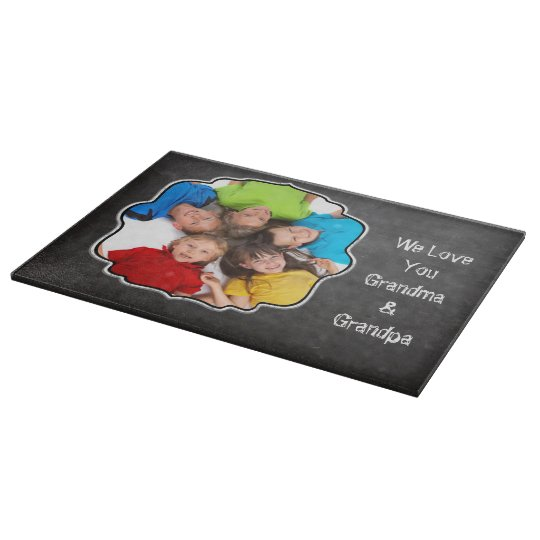 Family Photo Chalkboard We Love YOU Cutting Boards
