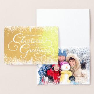 Family Photo Christmas Holiday Snowflakes Foil Card