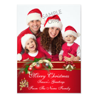 Family Photo Christmas Red Green Party Greetings 4.5x6.25 Paper Invitation Card
