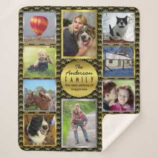 Family Photo Collage 10 Pictures | Black Gold Deco Sherpa Blanket