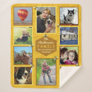 Family Photo Collage 10 Pictures | Honeybee Theme Sherpa Blanket