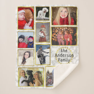 Family Photo Collage 11 Pictures Marble Gold Easy Sherpa Blanket