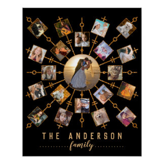 Family Photo Collage 21 Pictures Black Gold + Name Poster