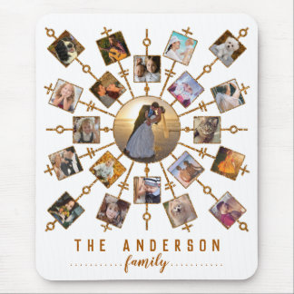 Family Photo Collage 21 Pictures White Gold + Name Mouse Pad