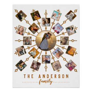 Family Photo Collage 21 Pictures White Gold + Name Poster