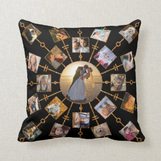 Family Photo Collage 42 Pictures Pretty Black Gold Throw Pillow