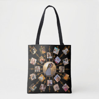 Family Photo Collage 42 Pictures Pretty Black Gold Tote Bag