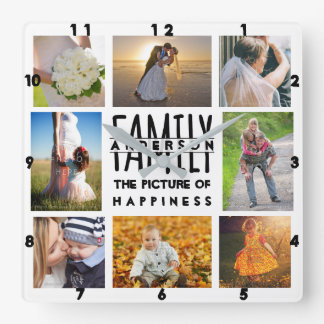 Family Photo Collage Add Name Template | 8 Picture Square Wall Clock