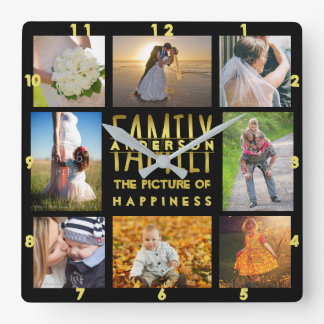 Family Photo Collage Add Name Template Gold Black Wallclocks