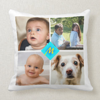 Family Photo Collage Any Color Stripes Throw Pillow