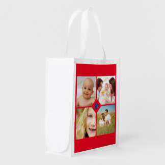 Family Photo Collage Customize Monogram Any Color Reusable Grocery Bag