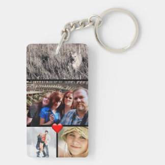 Family Photo Collage Heart Keychain