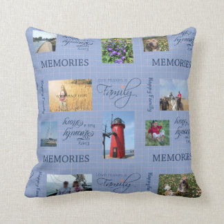 Family Photo Collage in Blue and Pink Throw Pillow
