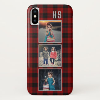 Family Photo Collage Monogram | Red Buffalo Plaid Case-Mate iPhone Case