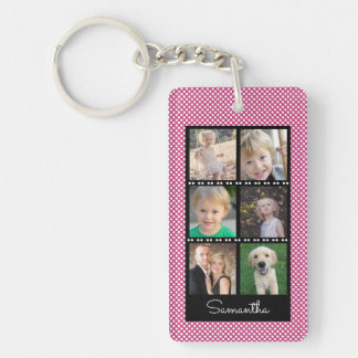 Family Photo Collage Pink, White Dots Personalized Keychain