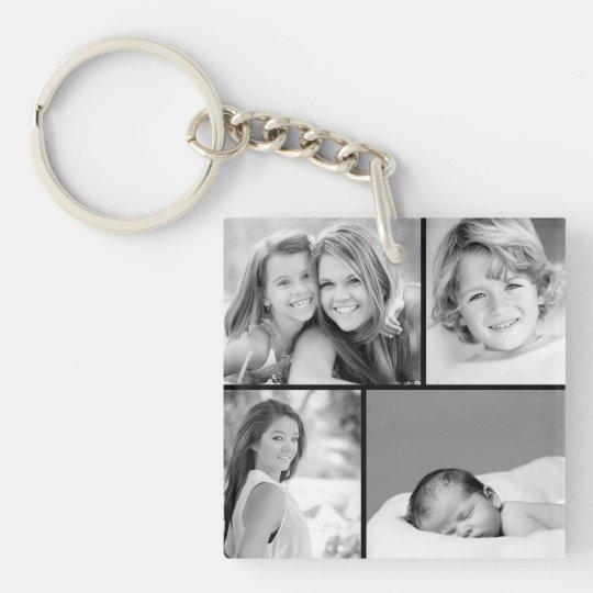 Family Photo Collage Single-Sided Square Acrylic Keychain