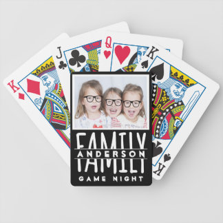 Family Photo | Custom Name Modern Black Game Night Poker Deck