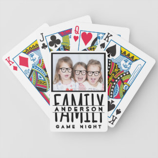 Family Photo | Custom Name Modern White Game Night Poker Deck