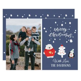 Family Photo Cute Blue Christmas Card