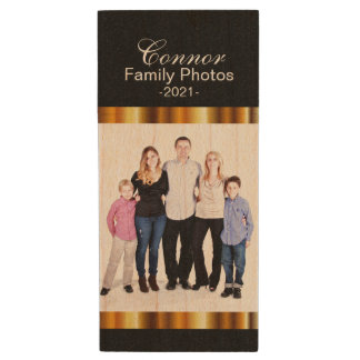 Family Photo Design Template Wood USB 2.0 Flash Drive