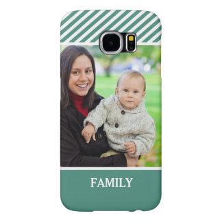 Family Photo Personalized - Stylish Green Stripes Samsung Galaxy S6 Cases