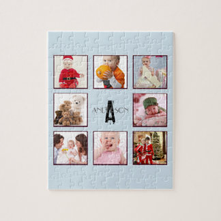 Family PHOTO Puzzel 9 pics Personalized Monogram Jigsaw Puzzle