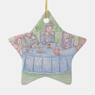 Family Picnicn Ceramic Star Ornament