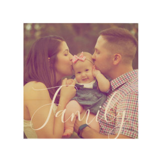 Family Portrait Photo Wood with Text Option Wood Wall Decor