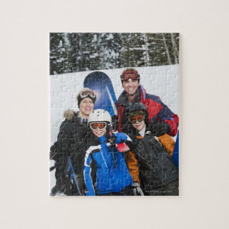 Family portrait with snowboards jigsaw puzzle