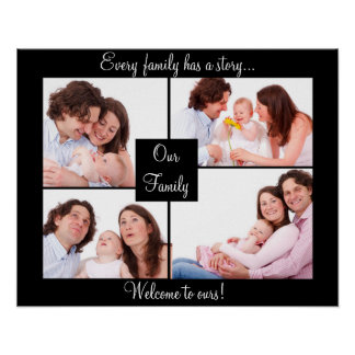 Family Quote and Photo Collage in black Poster