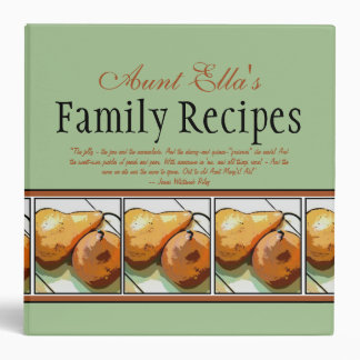 "Family Recipes 2"" Binder for Pear Lovers"