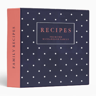 Family Recipes   Dark Blue, White Dots, and Coral 3 Ring Binders