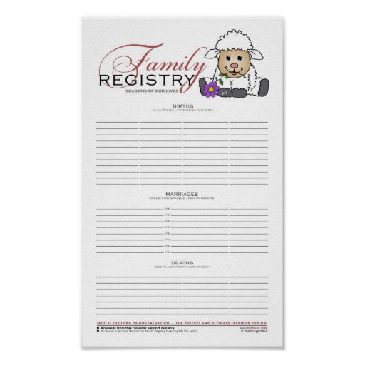 Family Registry w/LittleLamb Poster
