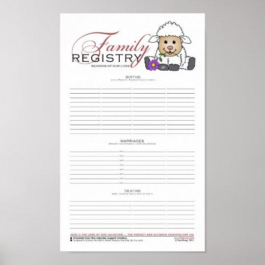 Family Registry w/LittleLamb Poster