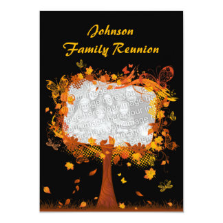 "Family Reunion Autumn Tree Photo Frame 5"" X 7"" Invitation Card"