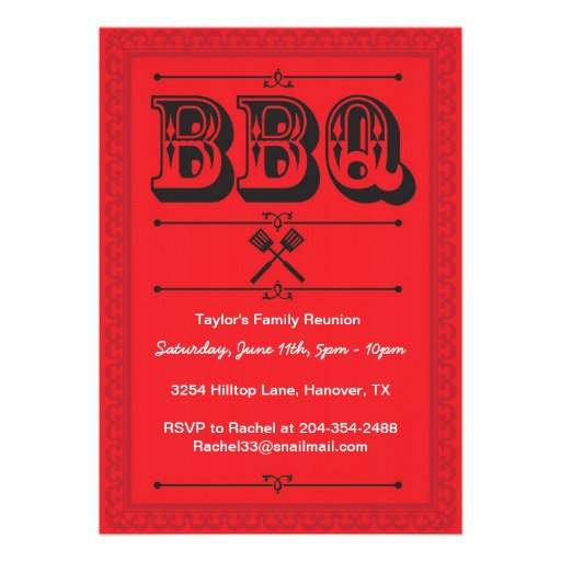 Family Reunion Barbecue Party Invitations